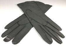 Antique Leather Women Gray Gloves Three Point Stitch Vintage 20s Fashion