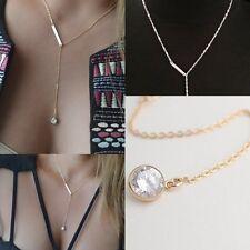 Women Jewelry Crystal Pendant Choker Chunky Statement Bib Chain Necklace Silver