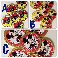 16 x Personalised Mickey Mouse Chocolate Gold Birthday Thanku Coins