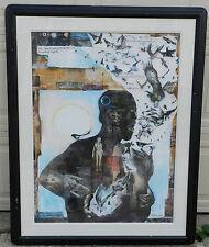 BIG Vintage Modern Mixed Media Painting Collage R BLANCAFIOR Black Man Nude Film