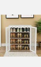 4 Tiers Double Door Shoe Rack Storage Shelf Display Stand Organiser Unit Cabinet