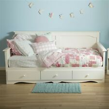 Old-Fashion Girl Twin Country Style White 3 Storage Drawer Wood Daybed Frame