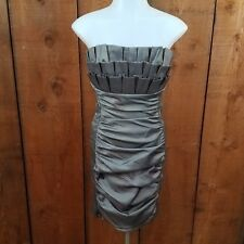 Cache Dress 6 Strapless Silver Ruched Ruffle Cocktail Bodycon Short Prom Formal