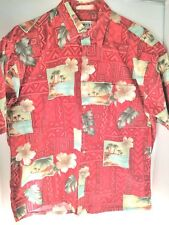 Compia Hawaiian Shirt  Size L Color Red Green Palm Trees Beige Hibiscus