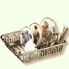 DOLLHOUSE Filled Dish Rack 1.843/8 Reutter Plates Flatw Flower Fairy Miniature