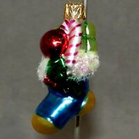 "Christmas Ornament KURT ADLER Glass FEATHER TREE STOCKING  Blue 2"" USA SELLER"