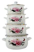 Set de Casseroles 8pcs Émaillé Cuisine Set Marmites Ragoût Blanc et Rosé Fleurs