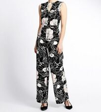 Marks & Spencer Women~ Floral Jumpsuit  Sleeveless Playsuit ~Sz 8~ Black Pink