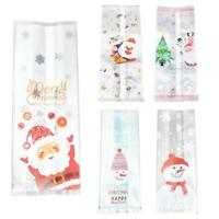 50Pcs Christmas Bag Santa Claus Snowman Cellophane Cookie Fudge Candy Gift