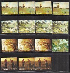BHUTAN. Art - Paintings. Impressionists. 1968. Scott 96-96O. MNH/MLH  (BI#46)