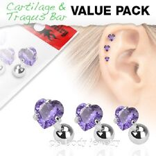 3pcs Value Pack of Assorted Steel Tragus Bar Prong Set Tanzanite Hearts Gem Top