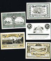 5x Notgeld Kreis STOLZENAU Kr. Nienburg Weser 50 F diverse Motive 1921 top