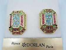 Pastel Swarovski Crystals - 1183 D'Orlan Gold Plated Pierced Earrings with