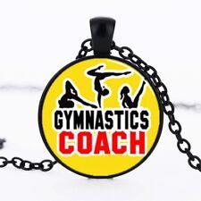 BLACK crystal gymnastics COACH pendant  necklace man woman  FREE GIFT BOX 4U