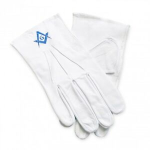 White 100% Soft Leather Masonic Gloves with Sq & Compass G