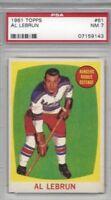 1961 Topps hockey card #61 Al Lebrun, New York Rangers graded PSA 7