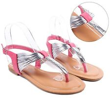 Fuchsia Fashion Summer T-Strap Womens Sandals Gladiator Dress Shoes Size 7.5