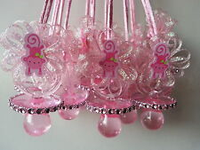 12 Pink Monkey Pacifier Necklaces Baby Shower Games Prizes Favors Jungle Safari