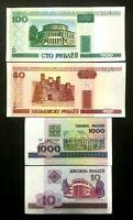 Belarus 1000, 100, 50, 10 Rubles Banknotes World Paper Money UNC Currency Bills