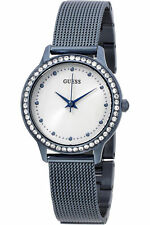 NEW GUESS LADIES W0647L4 ROUND DIAL CRYSTALS STAINLESS BLUE MESH BAND WATCH