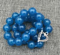 "Elegant 12mm apatite Round Beads Necklace 18 "" Tibetan silver love clasps AA"