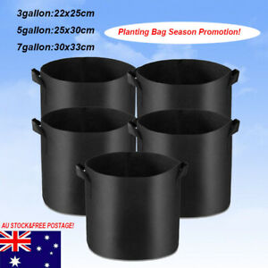 Pack of 10 Fabric Grow Pots Breathable Planter Bags 3/5/7 Gallon Bags AU