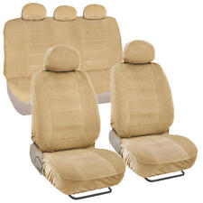 Beige Full Cloth Encore Style Premium Car Seat Covers Low Back 9 pc