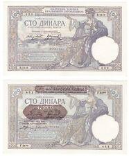 1929 YUGOSLAVIA - 1941 WWII SERBIA 100 Dinara Banknotes - P27b, P23 - UNC.