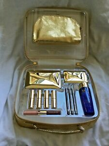 ESTEE LAUDER GOLD COSMETICS TRAIN CASE, MAKEUP BAG, MIRROR And 4 BRUSHES New!