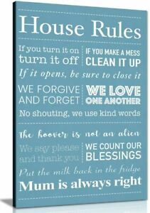 House Rules Canvas Pictures Wall Art Print For Living Room Home Decor Print