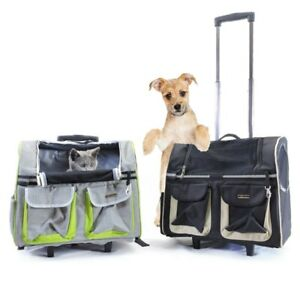 Pet Rolling Carrier Backpack Dogs Cats Wheel Trolley Luggage Bags Travel Handbag