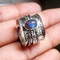Labradorite Solid 925 Sterling Silver Spinner Ring Meditation statement Ring 118
