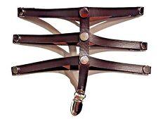 BROWN STEAMPUNK FAUX LEATHER CAGE GARTER BELT thigh stocking straps vegan Y3