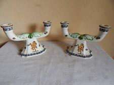 Paire de chandeliers en faïence de Gien - décor renaissance
