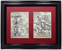 Antique Japanese Woodblock Print Pair Samurai Feast c1880s