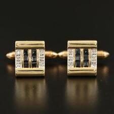 Vintage 14K Gold Diamond and Sapphire Cufflinks