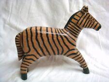"Wooden Zebra Figure Hand Carved (91/2"" long x 7 1/2"" tall)"