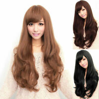 Women Curly Long Straight Wavy Full Wig Black Brown Hair Cosplay Party + Wig Cup