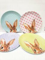 8pc Shabby Chic Easter Melamine Gingham Bunny Rabbit Dinner Plates Set
