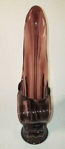 "Vintage Mid Century Purple Amethyst Stretch Swung Vase w Tongue 16.5"""