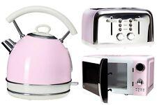 Pastel Rose Bouilloire 4 Tranches Grille-pain et Micro-ondes Cuisine Vintage