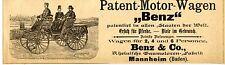"""PATENT-MOTOR-WAGEN """"Benz""""   Historische Reklame von 1895"""