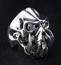 DIAMOND FANG DEVIL 925 STERLING SILVER MENS RING 10.5 HEAVY SKULL BIKER GOTHIC