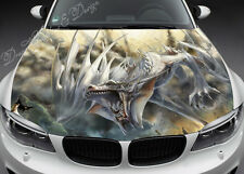 White Dragon Full Color Graphics Adhesive Vinyl Sticker Fit any Car Bonnet #057