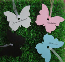 50x  Butterfly Wedding Tags, Wish Tree Tags,gift card,Place Name Cards