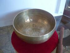 CAMPANA TIBETANA REALIZZATA A MANO INCISA BUDDHA sette metalli artigianale + CD