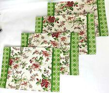 Set of 4 Waverly Placemats Floral Green Geometric Linen Cotton Textile Lot