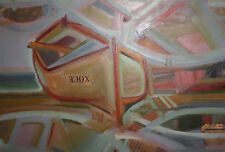 1985 Abstract oil collage painting boat signed