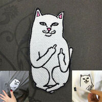 Funny Embroidery Middle Finger Cat Sew Iron On Patch Badge Fabric Applique DIY