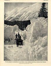 Die von Lawinen verschüttete Poststrasse bei dem Dorf Casaccia Schweiz von 1901